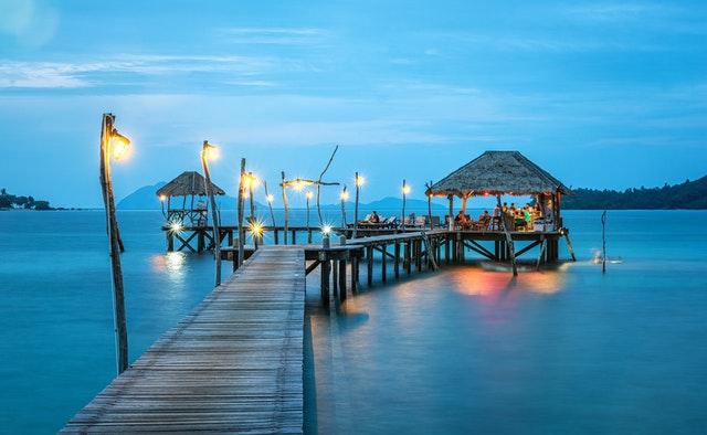 Cabanas on the ocean